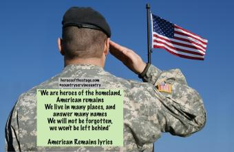 Image of an american soldier saluting the flag of the United States of America